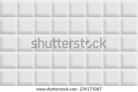 3D white tiles background - stock photo