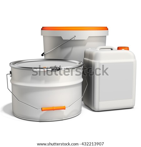 3d white tub paint, bucket, container with metal handle and lid on white background 3D illustration - stock photo
