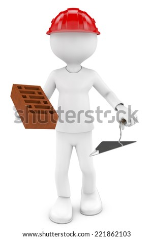 3d white worker, brick and metal trowel . 3d image.  - stock photo