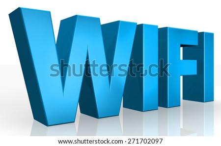 3D wifi text on white background - stock photo