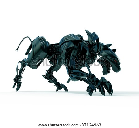 3d wild hunter - cyber panther - stock photo