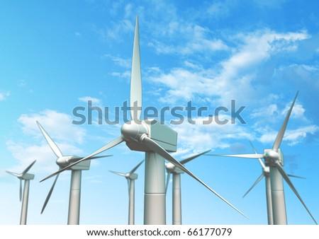 3D windmills and blue sky - stock photo