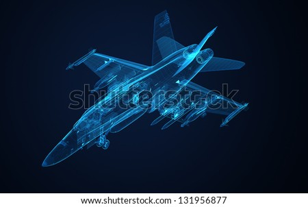 3d Wire Frame sketch of F-18 hornet - stock photo
