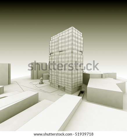 3d wireframe business building render in sepia color - stock photo