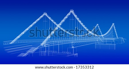 3d wireframe render of a bridge - stock photo