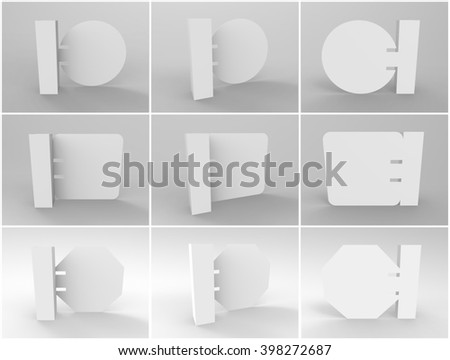 3D Wobbler Render is a set of 3 professional 3D Wobbler with 3 perspectives to create and present a realistic display for your unique self standing 3D Wobblers in a professional way. - stock photo
