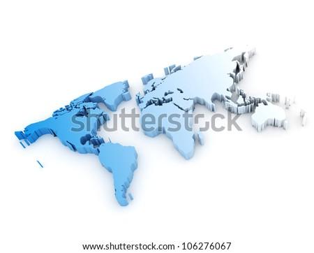 3D Wolrd Map - stock photo