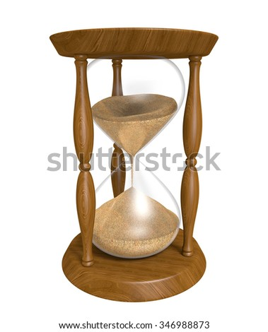 3D wood hourglass isolated over a white background - stock photo
