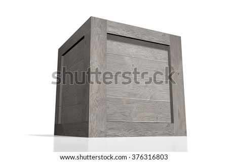 3D wooden box - great for topics like freight transportation, delivery etc. - stock photo