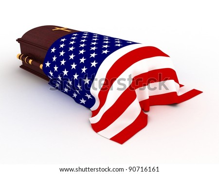3D Wooden coffin from mahogany, with the flag of usa and christian cross - stock photo