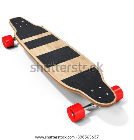 3d wooden longboard, skateboard with red wheels on white background 3D illustration - stock photo