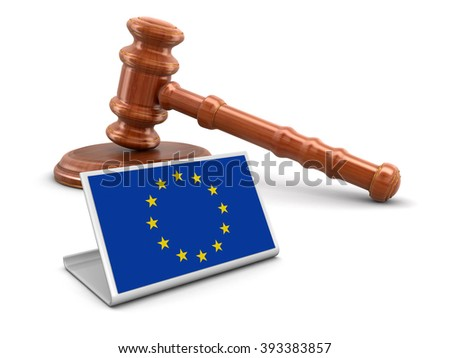 3d wooden mallet and European union flag. Image with clipping path - stock photo