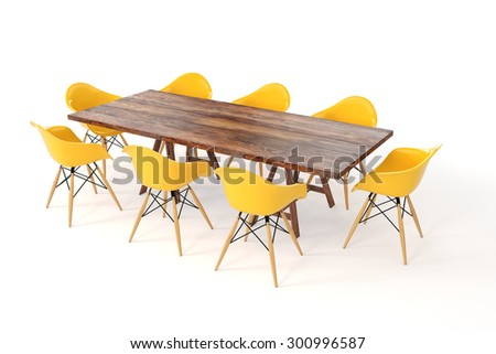 3d wooden table and chairs on white background - stock photo