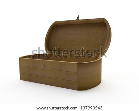 3d Wooden Vintage Casket - stock photo
