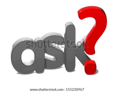 3D Word Ask on white background  - stock photo