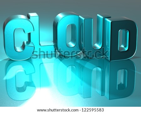 3D Word Cloud on blue background - stock photo