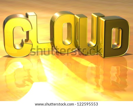 3D Word Cloud on gold background - stock photo