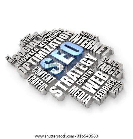3D word cloud - search engine optimization concept - stock photo