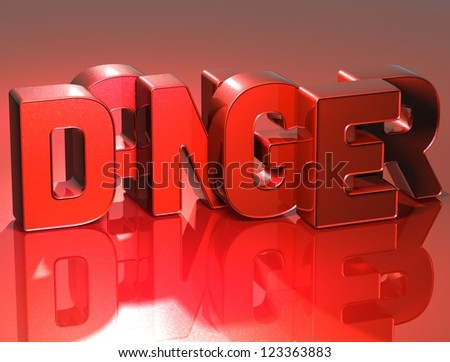 3D Word Danger on red background - stock photo