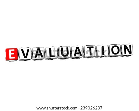 3D Word Evaluation on white background    - stock photo