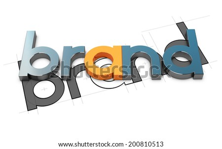 3D word over white background and sketch, Concept illustration of brand design. - stock photo