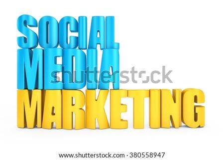 3d word social media marketing on white background - stock photo