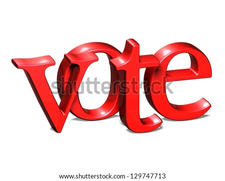 3D Word Vote on white background - stock photo