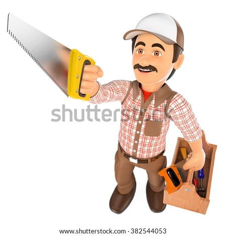 3d working people. Carpenter with saw and toolbox. Isolated white background. - stock photo