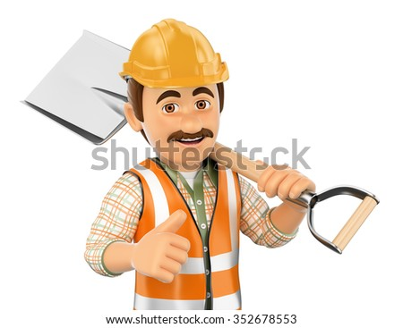 3d working people. Construction worker with shovel and thumb up. Isolated white background. - stock photo