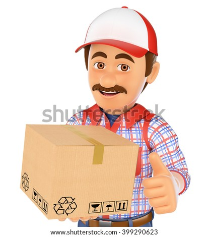 3d working people. Delivery man with a box. Isolated white background. - stock photo
