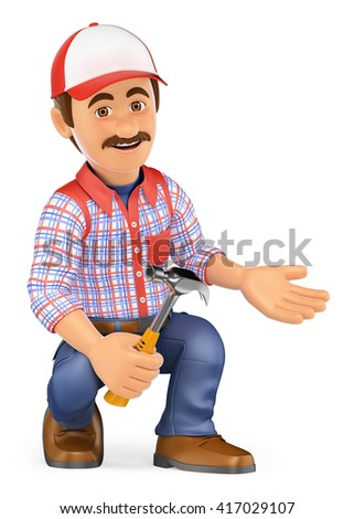 3d working people. Handyman squatting with a hammer pointing to side. Isolated white background. - stock photo