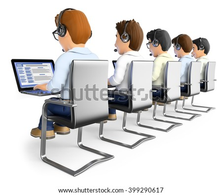 3d working people. Men working in a call center. Isolated white background. - stock photo