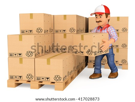 3d working people. Storekeeper stacking boxes in a warehouse. Isolated white background. - stock photo
