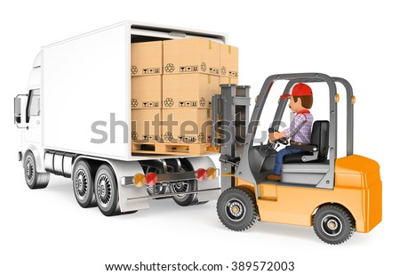 3d working people. Worker driving a forklift loading a truck. Isolated white background. - stock photo