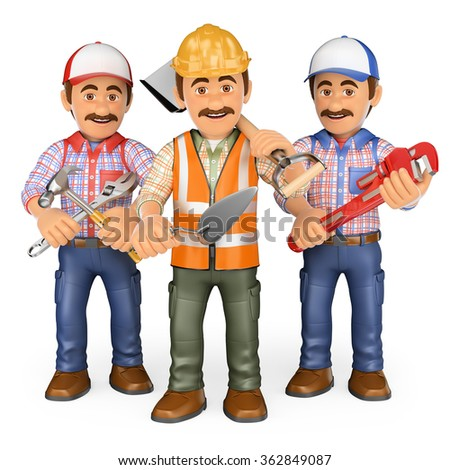 3d working people. Workers. Team of work. Isolated white background. - stock photo
