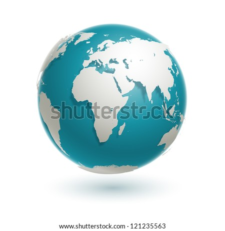 3d  world globe icon with white map of the continents of the world - stock photo