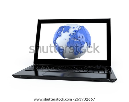 3D world globe map on a laptop computer isolated on white  - stock photo