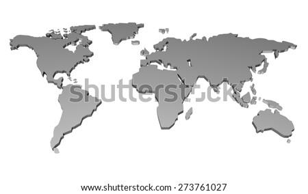 3D. World Map, Globe, Map. - stock photo
