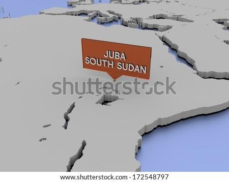 3d world map illustration - Juba, South Sudan - stock photo