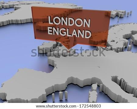 3d world map illustration - London, England - stock photo