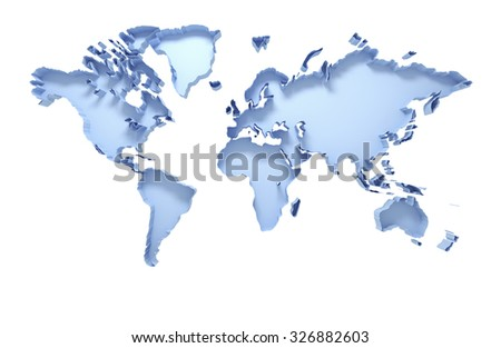 3D world map isolated on white with clipping path - stock photo