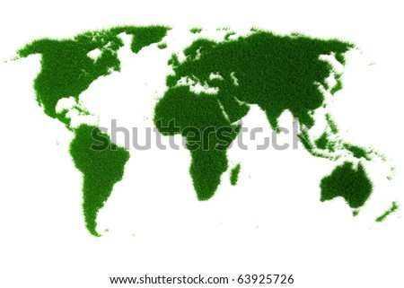 3d world map made of grass - stock photo