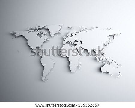 3d world map with shadow  - stock photo