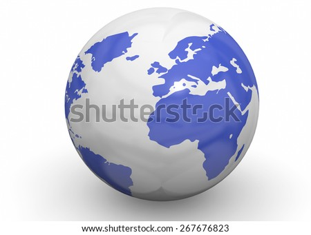 3d World on white background - stock photo