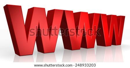 3D www text on white background - stock photo