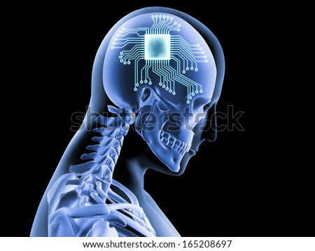 3D X-ray of human brain with computer chip and circuit - stock photo