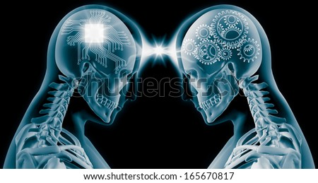 3D X-Ray of human brain with computer chip circuit and gears - stock photo