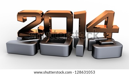 3D 2014 year golden figures with shadow - stock photo