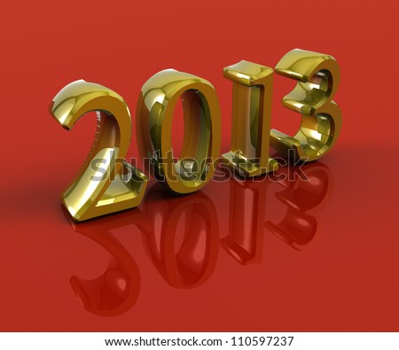 3D 2013 year golden figures with shadow on a red background - stock photo