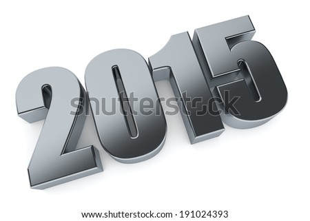 3D 2015 year metallic figures with shadow. - stock photo